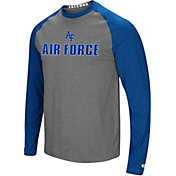 Colosseum Men's Air Force Falcons Grey/Blue Social Skills Long Sleeve Raglan T-Shirt