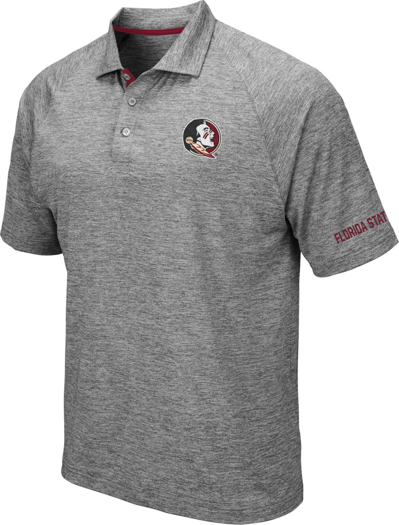 Colosseum Men's Florida State Seminoles Grey Chip Shot Polo