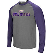 Colosseum Men's James Madison Dukes Grey/Purple Social Skills Long Sleeve Raglan T-Shirt