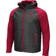 Colosseum Men's Oklahoma Sooners Grey/Crimson Baseplate Full-Zip Jacket
