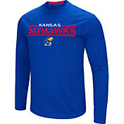 Colosseum Men's Kansas Jayhawks Blue Long Sleeve Performance T-Shirt