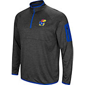 Colosseum Men's Kansas Jayhawks Grey Amnesia Quarter-Zip Shirt