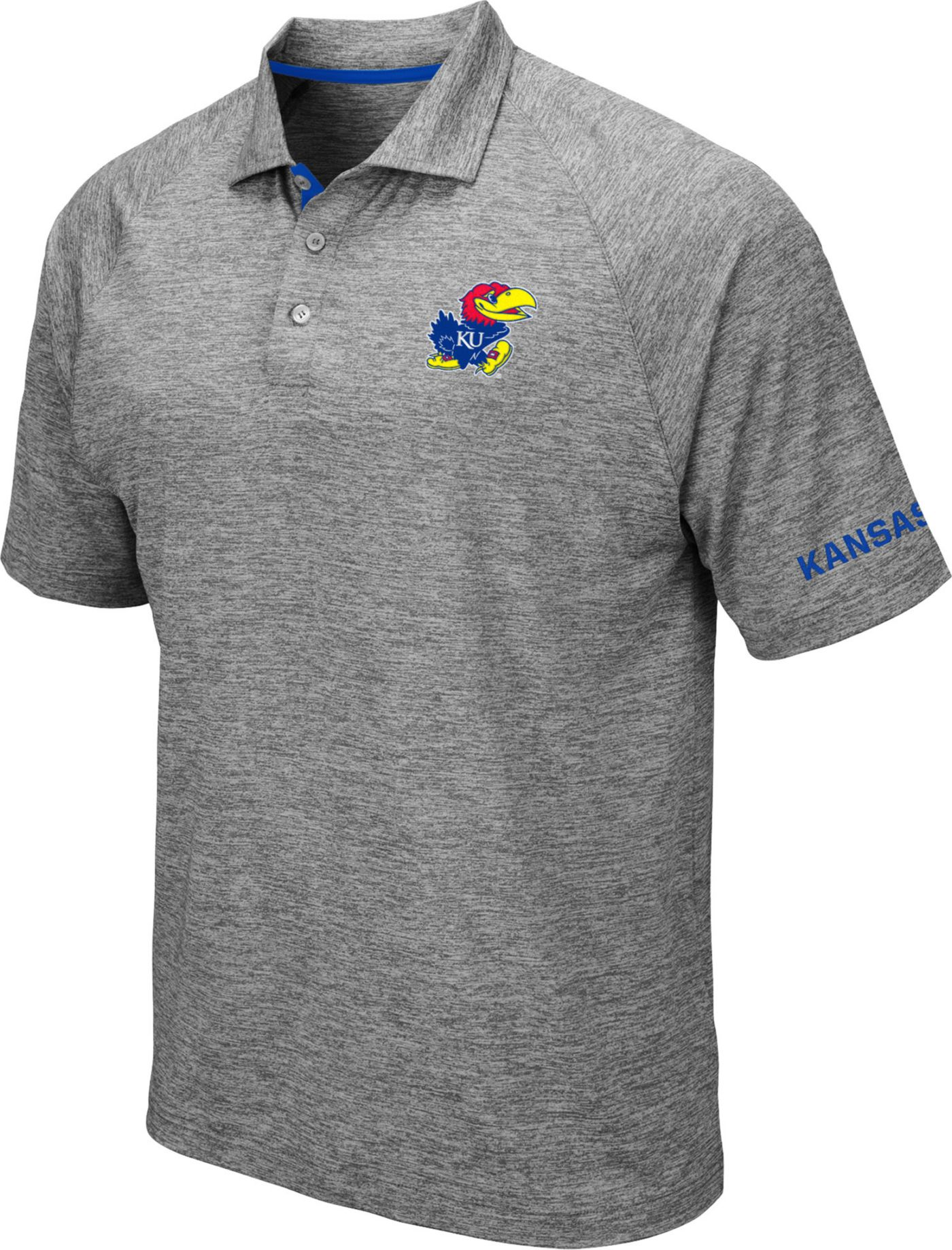Colosseum Men's Kansas Jayhawks Grey Chip Shot Polo