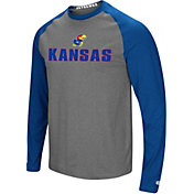 Colosseum Men's Kansas Jayhawks Grey/Blue Social Skills Long Sleeve Raglan T-Shirt