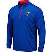 Colosseum Men's Kansas Jayhawks Blue Embossed Quarter-Zip Performance Shirt