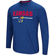 Colosseum Men's Kansas Jayhawks Blue Touchdown Long Sleeve T-Shirt