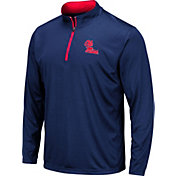 Colosseum Men's Ole Miss Rebels Blue Embossed Quarter-Zip Performance Shirt