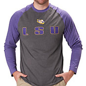 Colosseum Men's LSU Tigers Grey/Purple Social Skills Long Sleeve Raglan T-Shirt