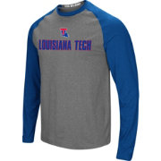 Colosseum Men's Louisiana Tech Bulldogs Grey/Blue Social Skills Long Sleeve Raglan T-Shirt