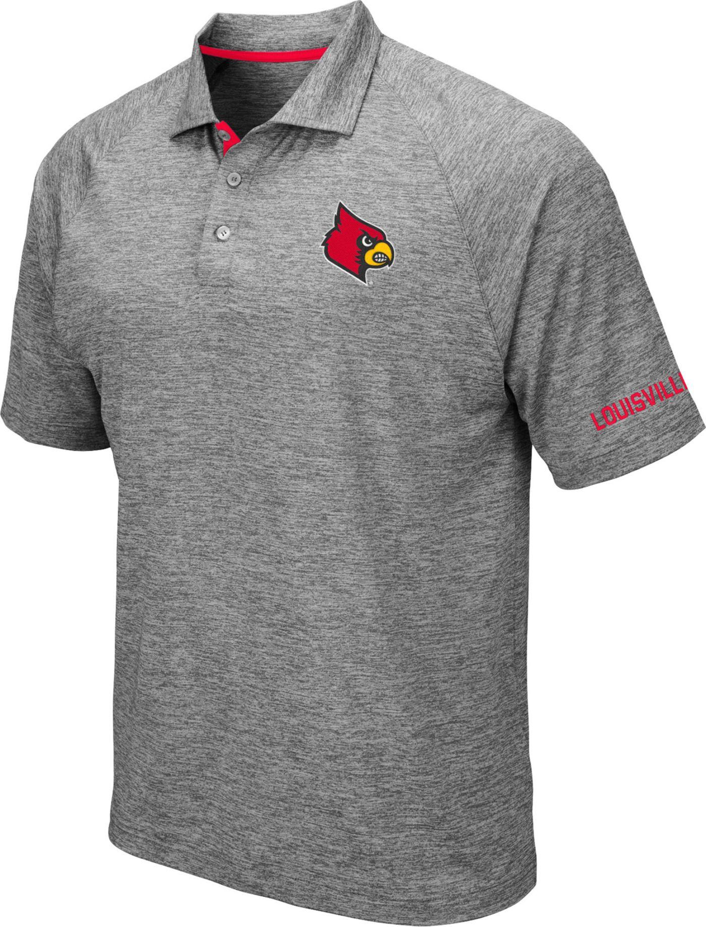 Colosseum Men's Louisville Cardinals Grey Chip Shot Polo
