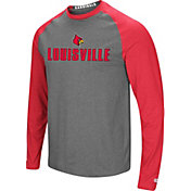 Colosseum Men's Louisville Cardinals Grey/Cardinal Red Social Skills Long Sleeve Raglan T-Shirt