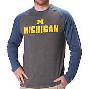 Colosseum Men's Michigan Wolverines Grey/Blue Social Skills Long Sleeve Raglan T-Shirt