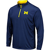 Colosseum Men's Michigan Wolverines Blue Embossed Quarter-Zip Performance Shirt