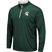 Colosseum Men's Michigan State Spartans Green Embossed Quarter-Zip Performance Shirt