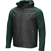 Colosseum Men's Michigan State Spartans Grey/Green Baseplate Full-Zip Jacket