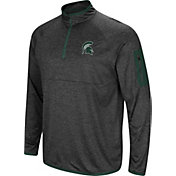 Colosseum Men's Michigan State Spartans Grey Amnesia Quarter-Zip Shirt