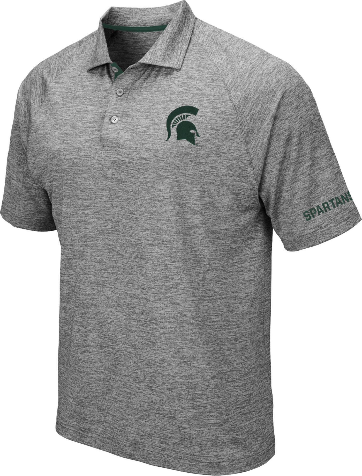 Colosseum Men's Michigan State Spartans Grey Chip Shot Polo