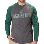 53d24de5d712 Colosseum Men's Michigan State Spartans Grey/Green Social Skills Long  Sleeve Raglan T-Shirt