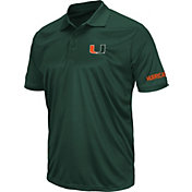 Colosseum Men's Miami Hurricanes Green Stance Polo