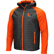 Colosseum Men's Miami Hurricanes Grey/Orange Baseplate Full-Zip Jacket