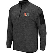 Colosseum Men's Miami Hurricanes Grey Quarter-Zip Shirt