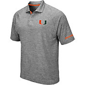 Colosseum Men's Miami Hurricanes Grey Chip Shot Polo
