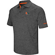 Colosseum Men's Miami Hurricanes Grey Cut Shot Polo
