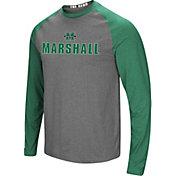 Colosseum Men's Marshall Thundering Herd Grey/Green Social Skills Long Sleeve Raglan T-Shirt