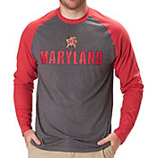 Colosseum Men's Maryland Terrapins Grey/Red Social Skills Long Sleeve Raglan T-Shirt