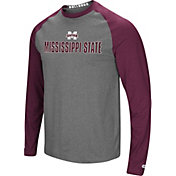 Colosseum Men's Mississippi State Bulldogs Grey/Maroon Social Skills Long Sleeve Raglan T-Shirt