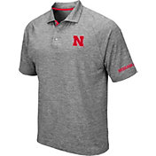 Colosseum Men's Nebraska Cornhuskers Grey Chip Shot Polo