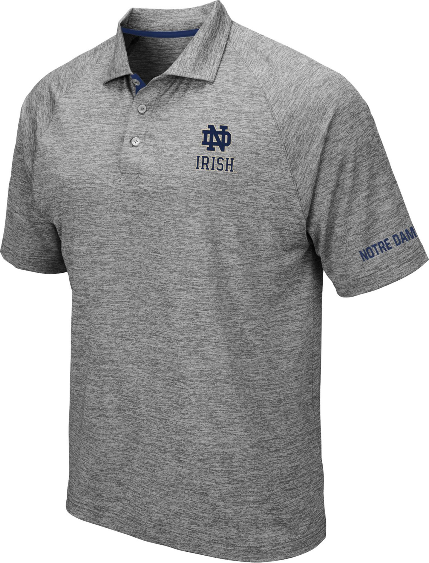 Colosseum Men's Notre Dame Fighting Irish Grey Chip Shot Polo