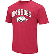 Colosseum Men's Arkansas Razorbacks Cardinal 'Omahogs' Dual Blend Baseball T-Shirt