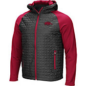 Colosseum Men's Arkansas Razorbacks Grey/Cardinal Baseplate Full-Zip Jacket