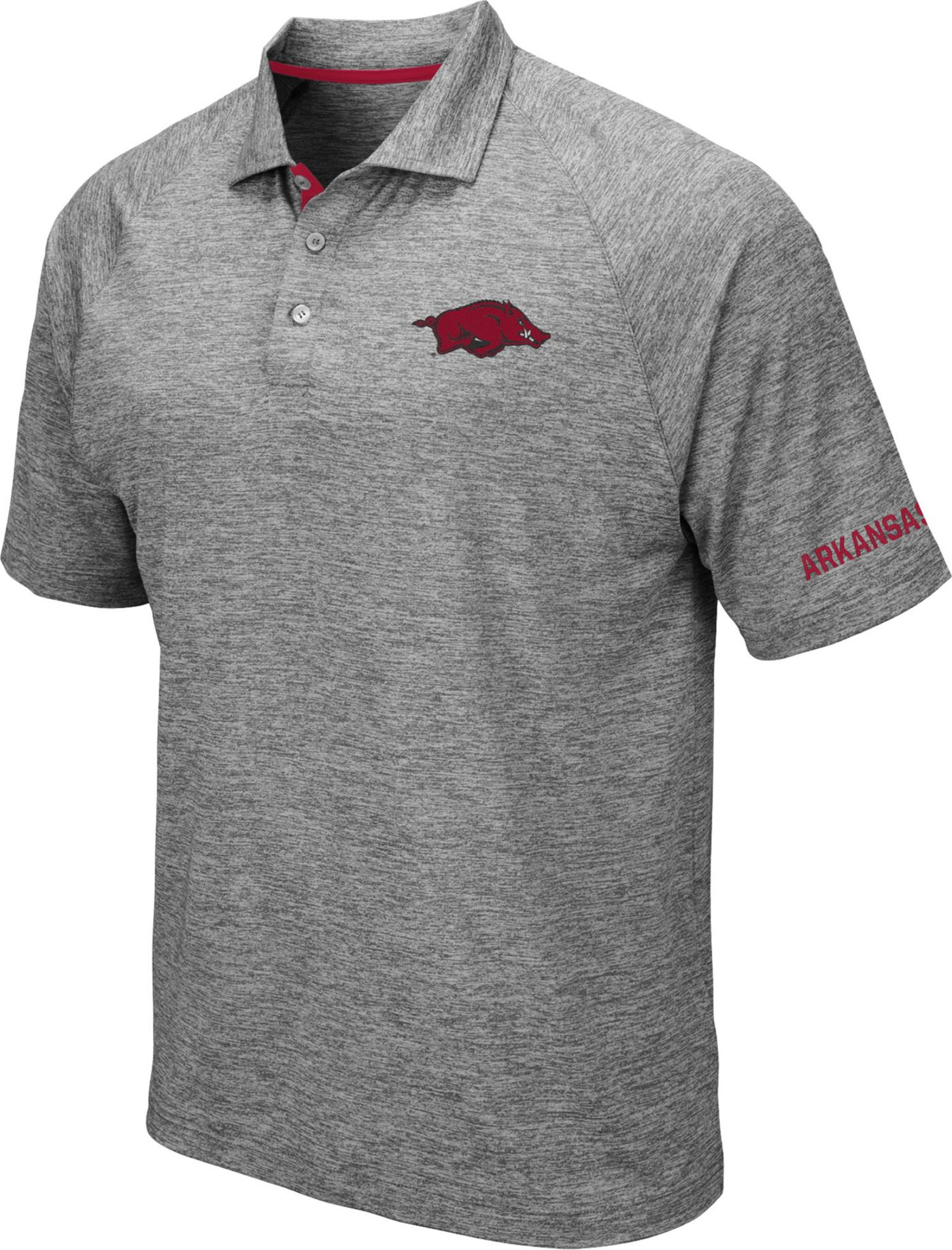 Colosseum Men's Arkansas Razorbacks Grey Chip Shot Polo