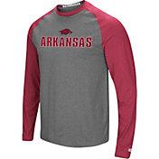 Colosseum Men's Arkansas Razorbacks Grey/Cardianl Social Skills Long Sleeve Raglan T-Shirt