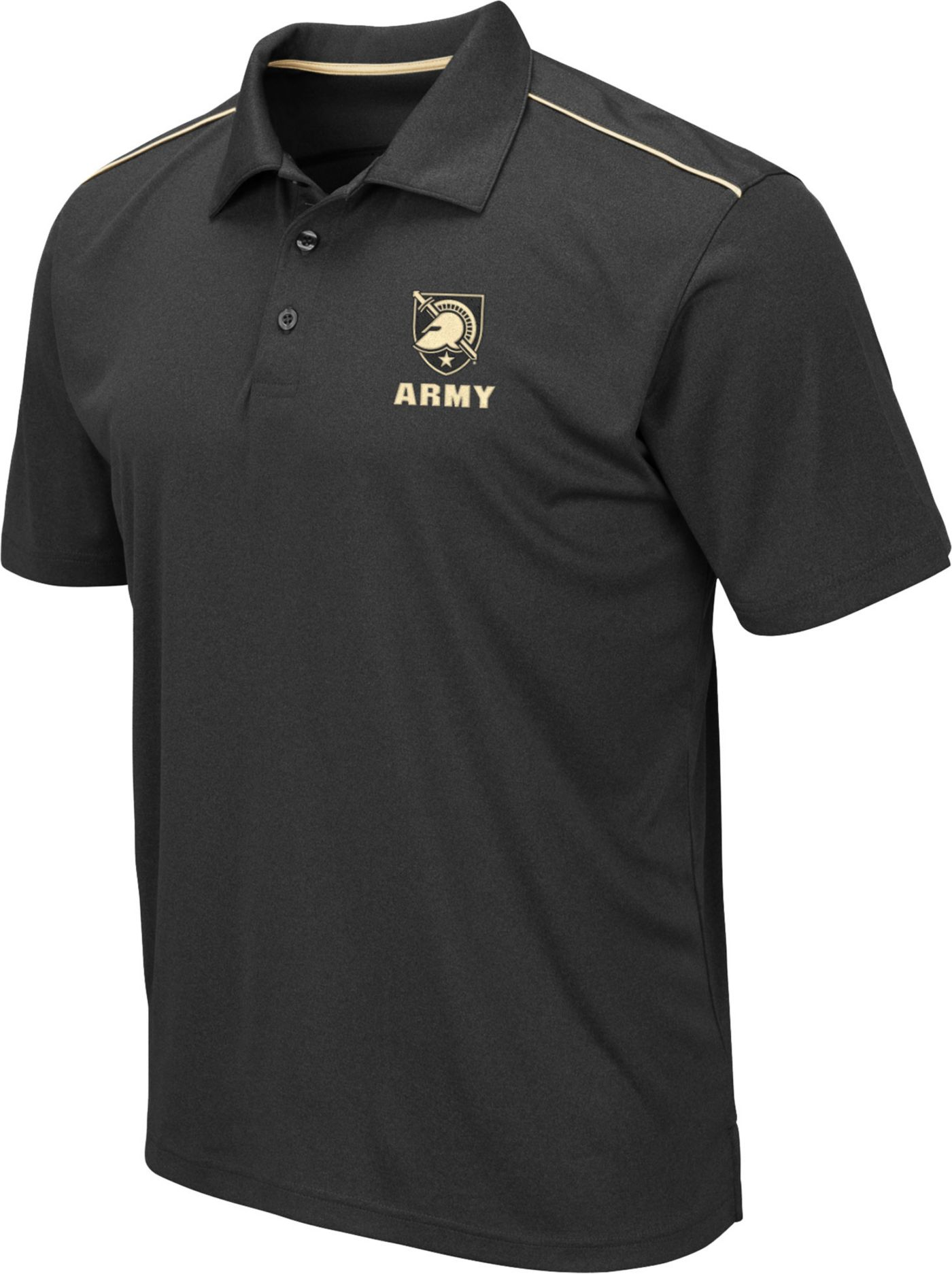 Colosseum Men's Army West Point Black Knights Eagle Black Polo