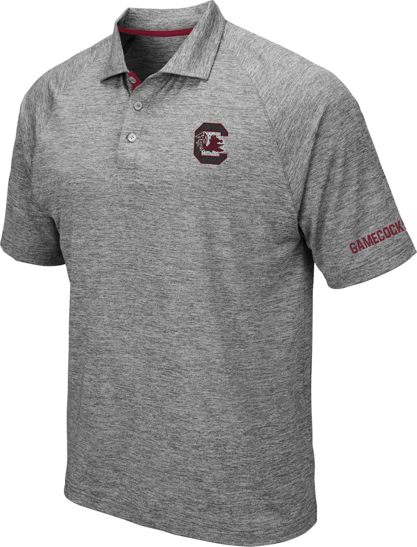 Colosseum Men's South Carolina Gamecocks Grey Chip Shot Polo