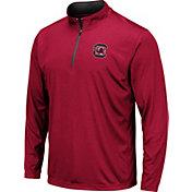 Colosseum Men's South Carolina Gamecocks Garnet Embossed Quarter-Zip Performance Shirt