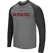 Colosseum Men's San Diego State Aztecs Grey/Black Social Skills Long Sleeve Raglan T-Shirt