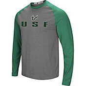 Colosseum Men's South Florida Bulls Grey/Green Social Skills Long Sleeve Raglan T-Shirt