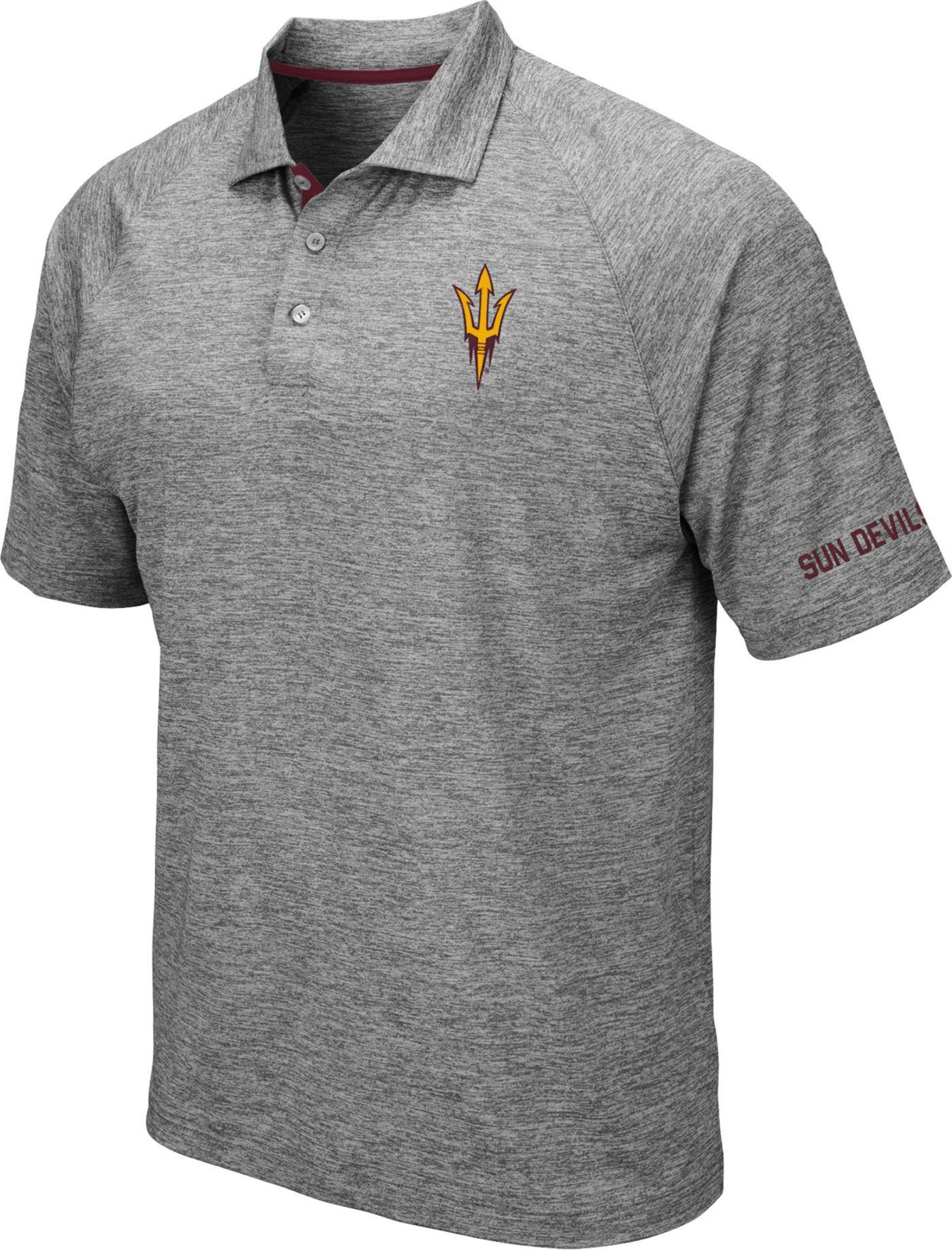 Colosseum Men's Arizona State Sun Devils Grey Chip Shot Polo