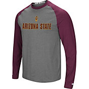 Colosseum Men's Arizona State Sun Devils Grey/Maroon Social Skills Long Sleeve Raglan T-Shirt