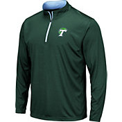 Colosseum Men's Tulane Green Wave Olive Embossed Quarter-Zip Performance Shirt