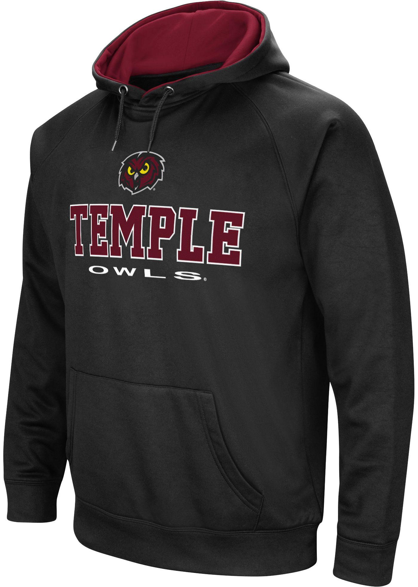 Colosseum Men's Temple Owls Fleece Pullover Black Hoodie