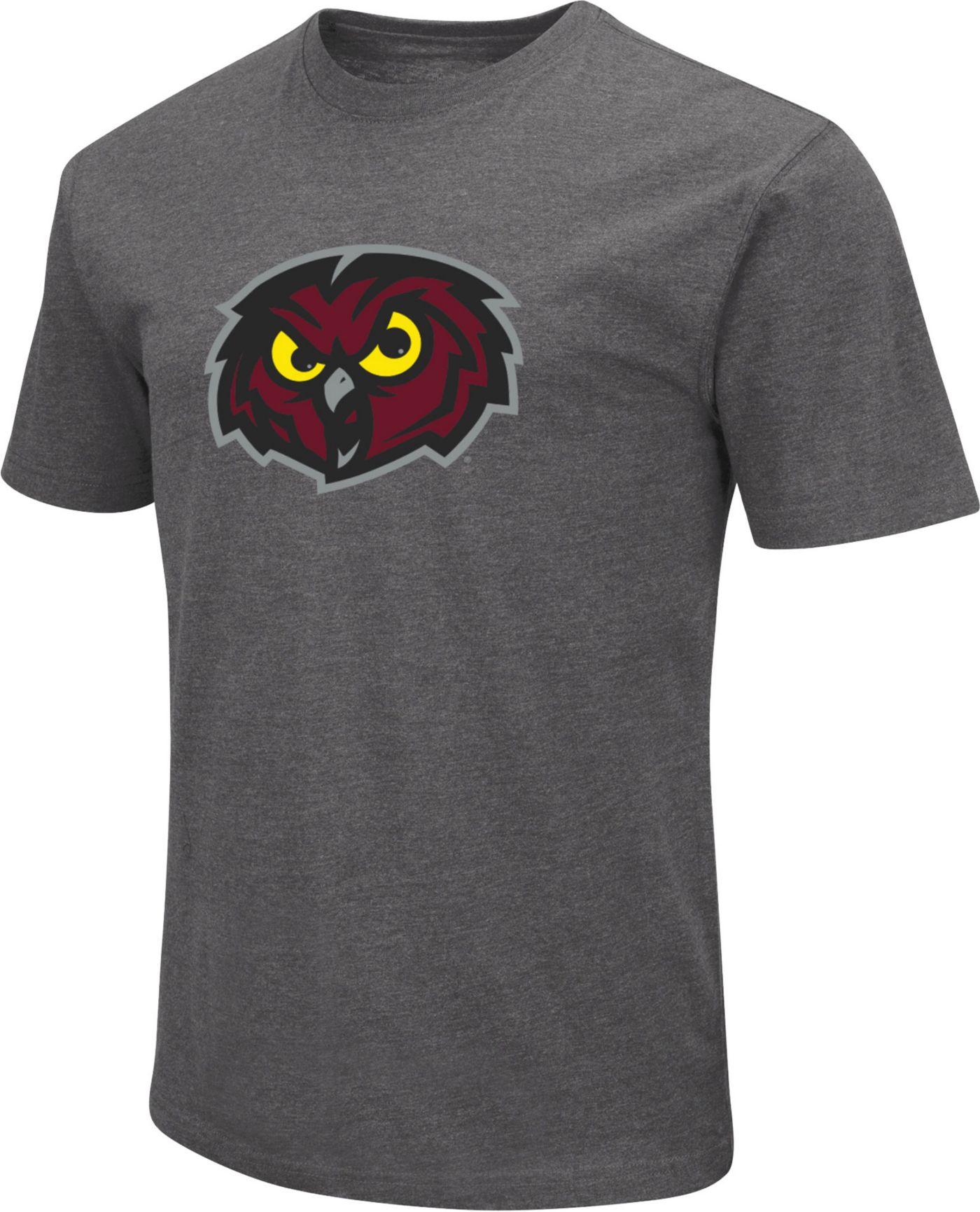 Colosseum Men's Temple Owls Grey Dual Blend T-Shirt