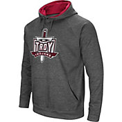 Colosseum Men's Troy Trojans Grey Fleece Pullover Hoodie