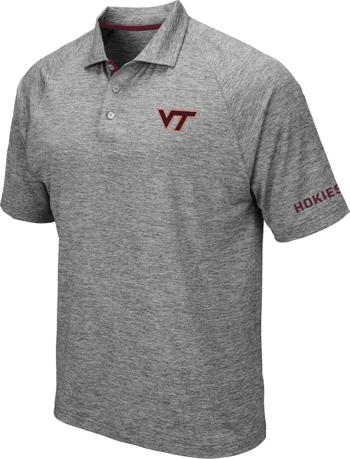 Colosseum Men's Virginia Tech Hokies Grey Chip Shot Polo