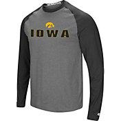Colosseum Men's Iowa Hawkeyes Grey/Black Social Skills Long Sleeve Raglan T-Shirt