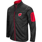 Colosseum Men's Wisconsin Badgers Glacier Full-Zip Black Jacket